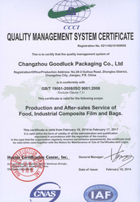 豪润ISO9001英文版证书